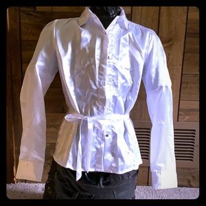 Girls white silky blouse with tie
